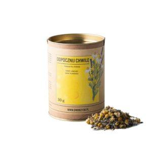 Mieszanka ziołowa odpocznij chwilę w żółtym opakowaniu na białym tle