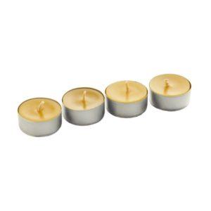 Stojące w rzędzie cztery świece lawendowe tealight